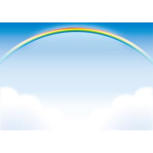 フリーイラスト, ベクター画像, AI, 風景, 自然, 空, 虹, 雲