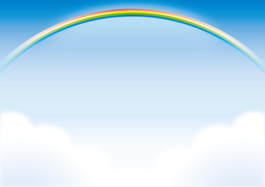 フリーイラスト 空と雲と虹の風景