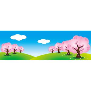 フリーイラスト, ベクター画像, EPS, 風景, 自然, 丘, 青空, 樹木, 桜(サクラ), 春, バナー