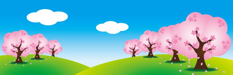 フリーイラスト 満開の桜並木と青空の風景