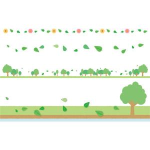 フリーイラスト, ベクター画像, AI, 飾り罫線(ライン), バナー, 植物, 葉っぱ, 樹木