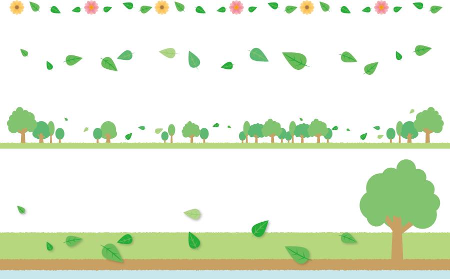 フリーイラスト 木の葉の飾り罫線とバナーのセット