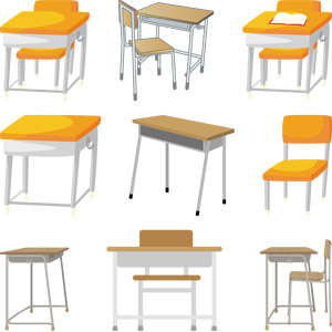 フリーイラスト, ベクター画像, AI, 学校, 教室, 机(デスク), 勉強机, 椅子(イス)