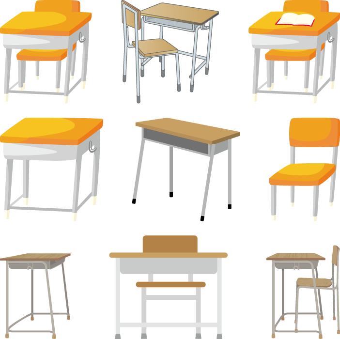 フリーイラスト 9種類の学校の勉強机と椅子のセット