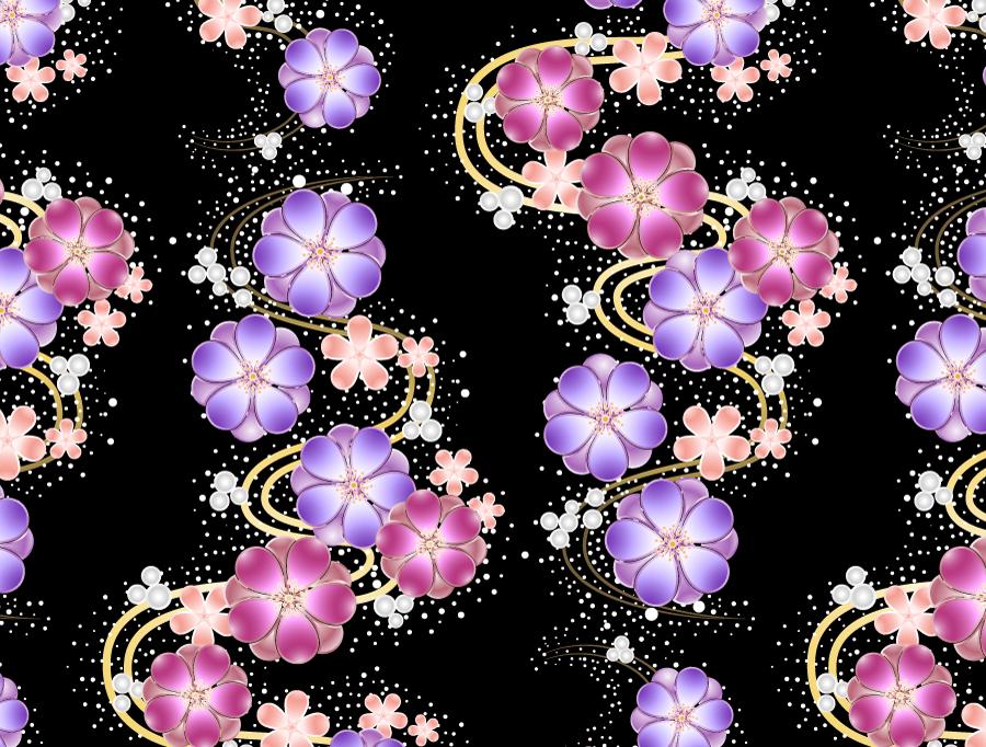 フリーイラスト 梅の花の和風背景