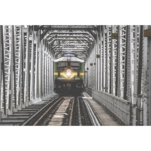 フリー写真, 風景, 鉄橋, 線路(鉄道), 乗り物, 列車(鉄道車両), 電車, インドの風景