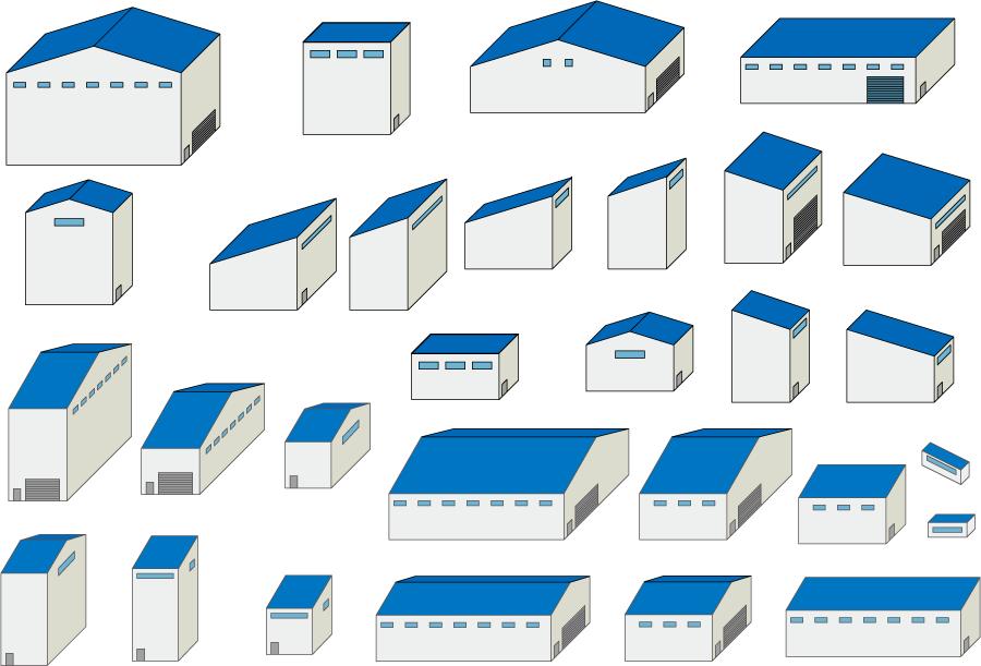 フリーイラスト 29種類の工場のセット