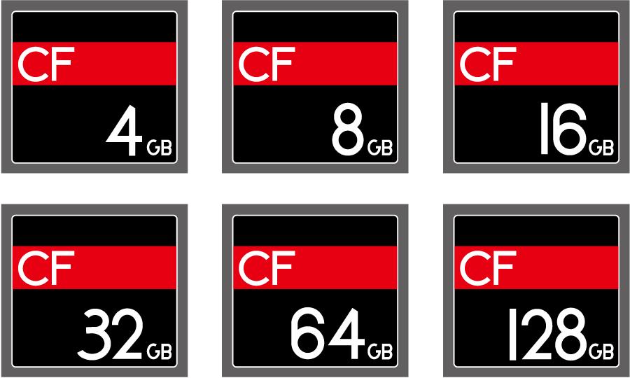 フリーイラスト 6種類のコンパクトフラッシュのセット