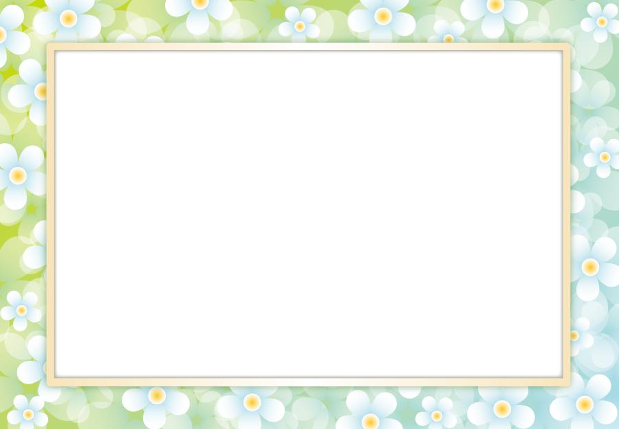 フリーイラスト 水色の花の飾り枠
