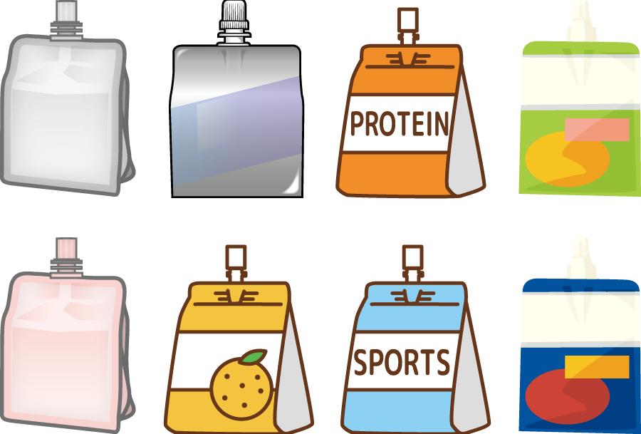 フリーイラスト 8種類のゼリー飲料のセット