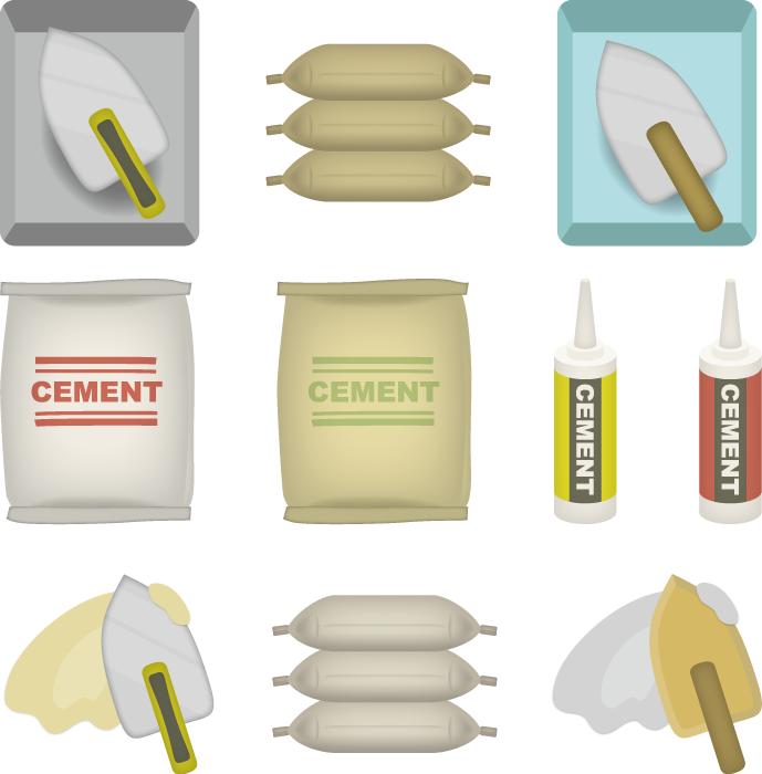 フリーイラスト 10種類のセメントのセット