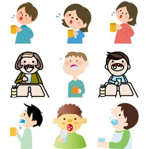 フリーイラスト, ベクター画像, AI, 人物, 女性, 男性, 中年女性, 子供, 男の子, 女の子, うがい, 予防医学, 医療