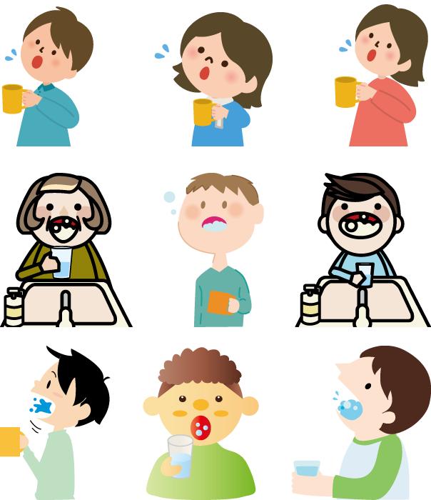 フリーイラスト 9種類のうがいをする人々のセット