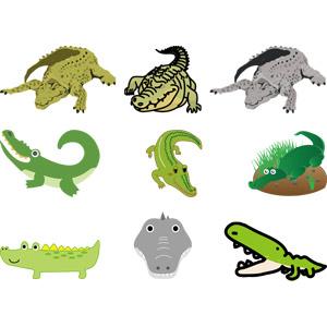 フリーイラスト, ベクター画像, AI, 動物, 爬虫類, 鰐(ワニ), 動物の顔