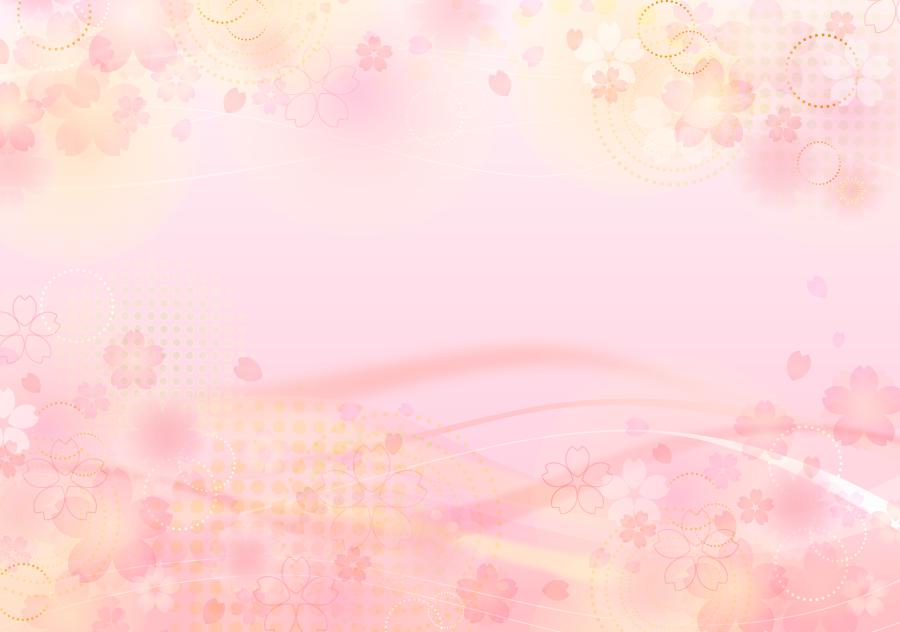 フリーイラスト 桜の花と波線の背景