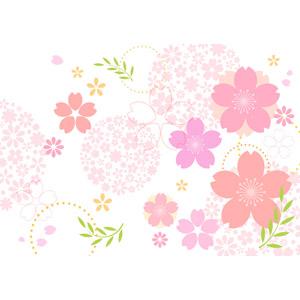 フリーイラスト, ベクター画像, AI, 背景, 花, 花柄, 桜(サクラ), 和柄, 春