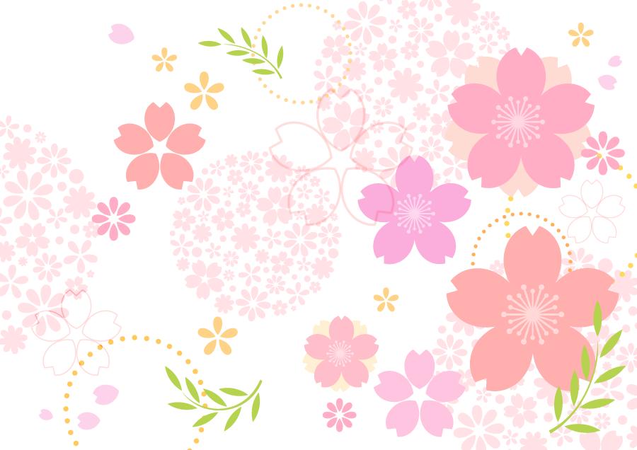 フリーイラスト サクラの花の和柄背景