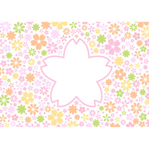フリーイラスト, ベクター画像, AI, 背景, フレーム, メッセージフレーム, 花柄, 桜(サクラ), 春