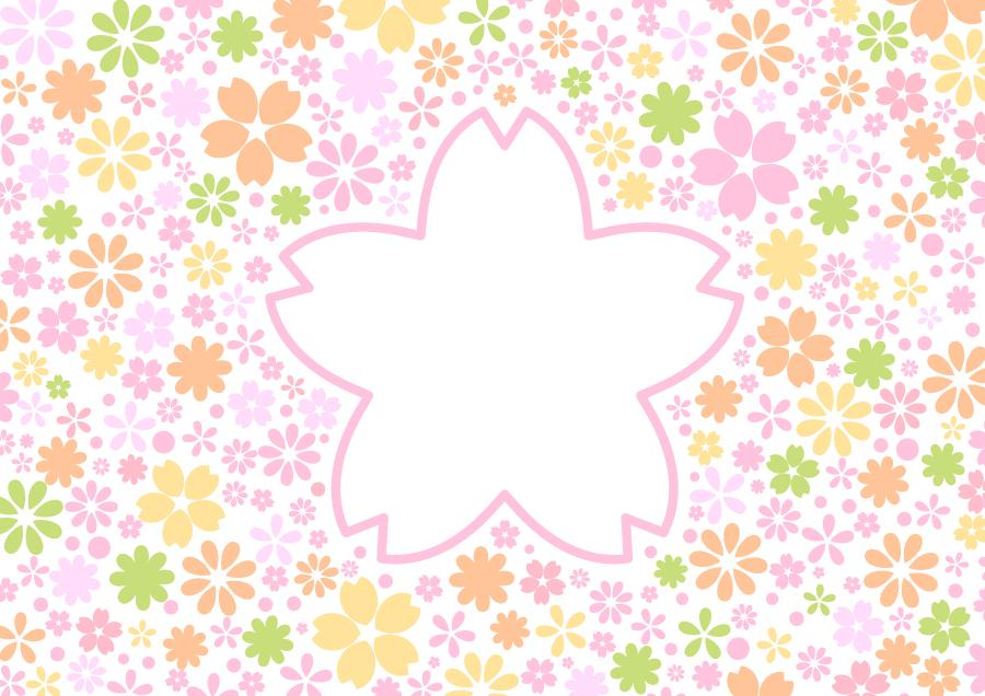 フリーイラスト 花柄とさくらの花型の飾り枠