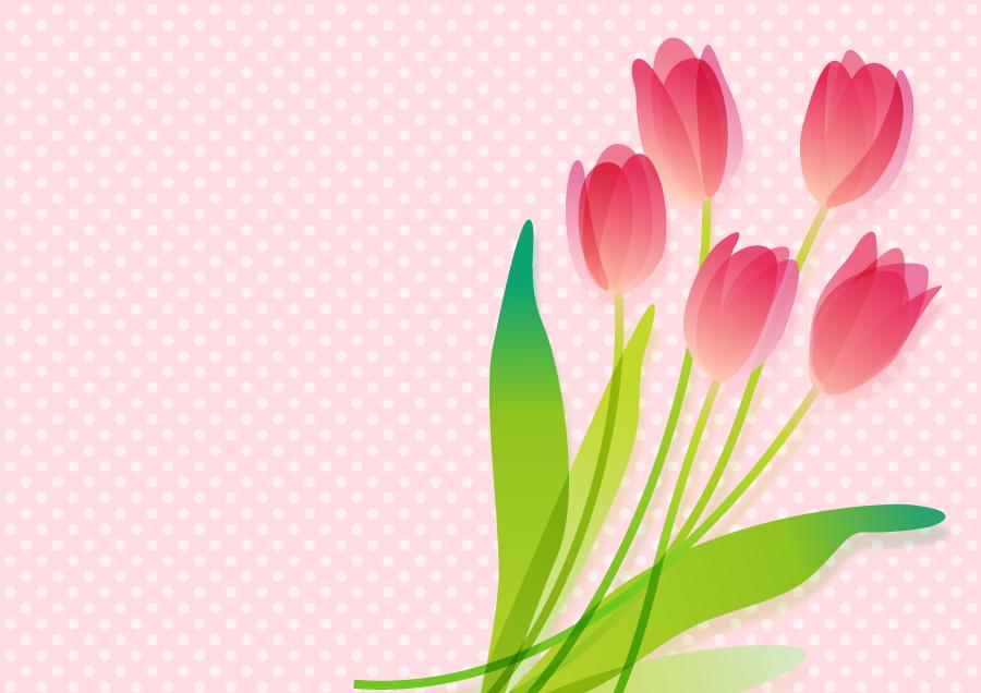 フリーイラスト チューリップの花と水玉模様の背景