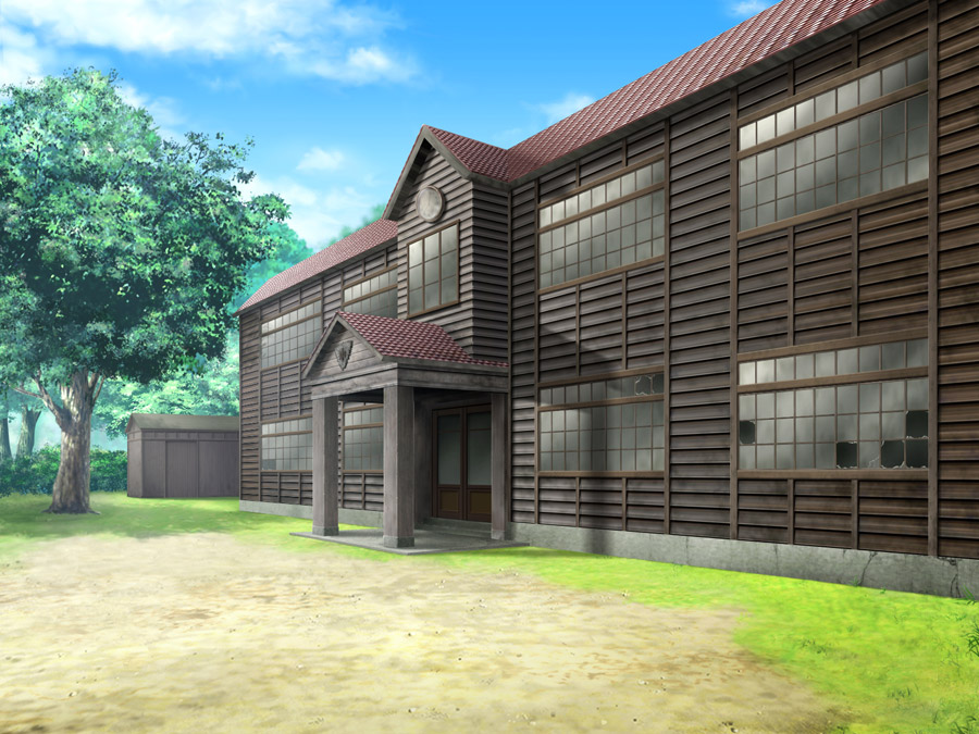 フリーイラスト 廃校になった木造校舎