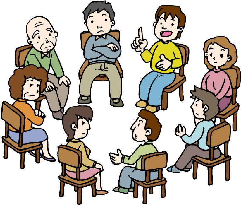 フリーイラスト 集会で話し合いをする人々
