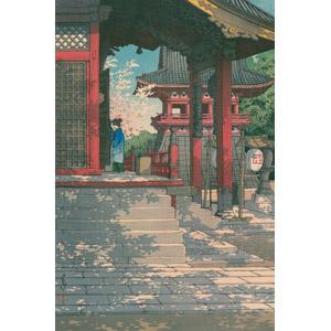 フリー絵画, 川瀬巴水, 浮世絵, 風景画, 建築物, 建造物, 寺院, お寺(仏閣), 仏教, 桜(サクラ), 春, 日本の風景, 東京都