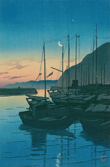 フリー絵画 川瀬巴水作「旅みやげ第三集 別府の朝」