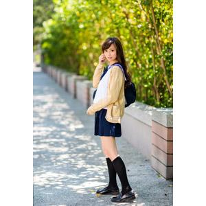 フリー写真, 人物, 少女, アジアの少女, 中国人, 女性(00160), 学生(生徒), 学生服, 高校生, スクールカーディガン, セーラー服(学生服)
