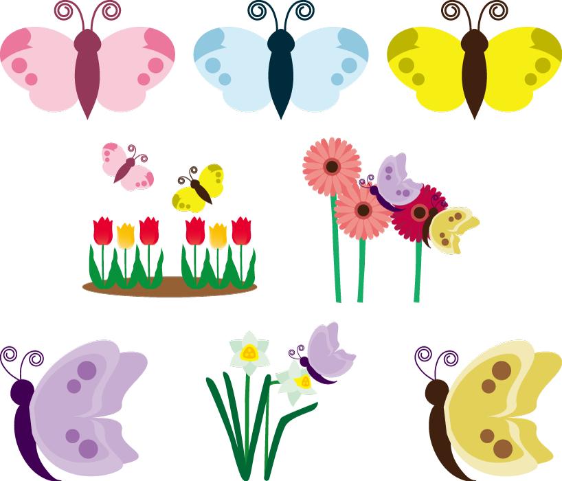 フリーイラスト 8種類の蝶々と花のセット