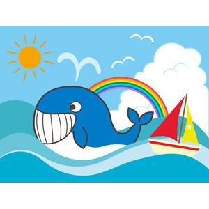 フリーイラスト, ベクター画像, EPS, 動物, 哺乳類, 鯨(クジラ), 海, ヨット, 虹, 積乱雲(入道雲), 夏