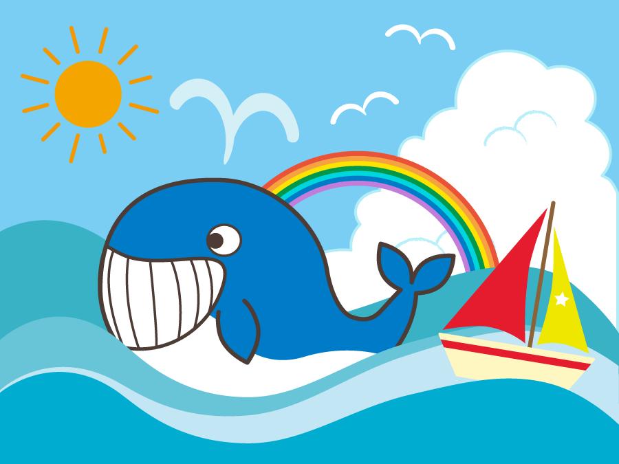 フリーイラスト クジラとヨットと虹と海