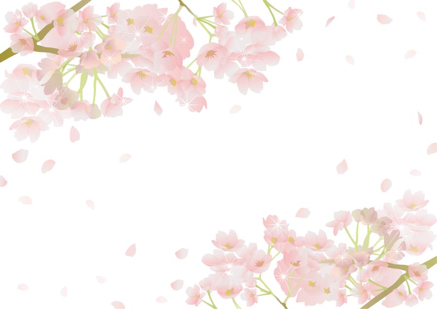 フリーイラスト さくらの花の飾り枠