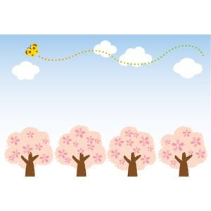 フリーイラスト, ベクター画像, EPS, 風景, 樹木, 花, 桜(サクラ), 青空, 昆虫, 蝶(チョウ), 春