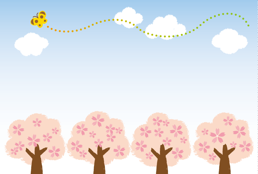 フリーイラスト 満開の桜の木と蝶の飛ぶ空の風景