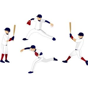 フリーイラスト, ベクター画像, EPS, スポーツ, 球技, 野球(ベースボール), 野球選手, ピッチャー(投手), バッター(打者), 投げる