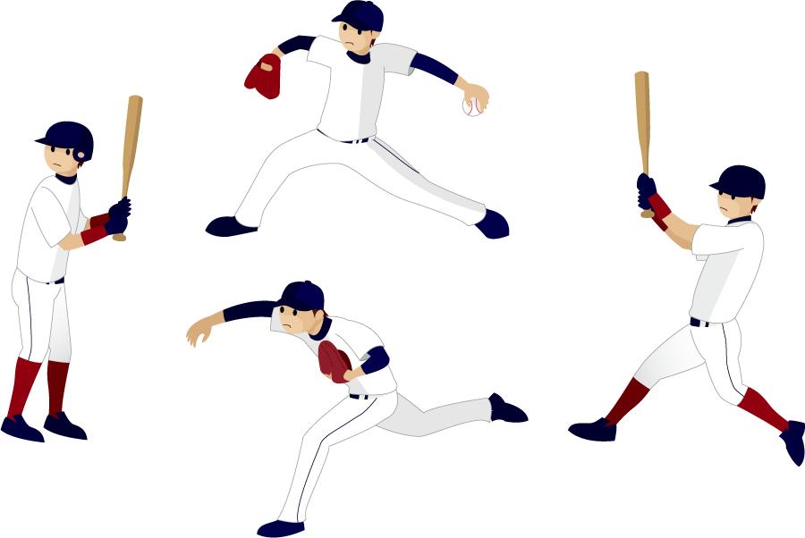 フリーイラスト 4種類の野球の投手と打者のセット