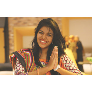 フリー写真, 人物, 女性, 外国人女性, スリランカ人, 手を合わす, 挨拶, サリー