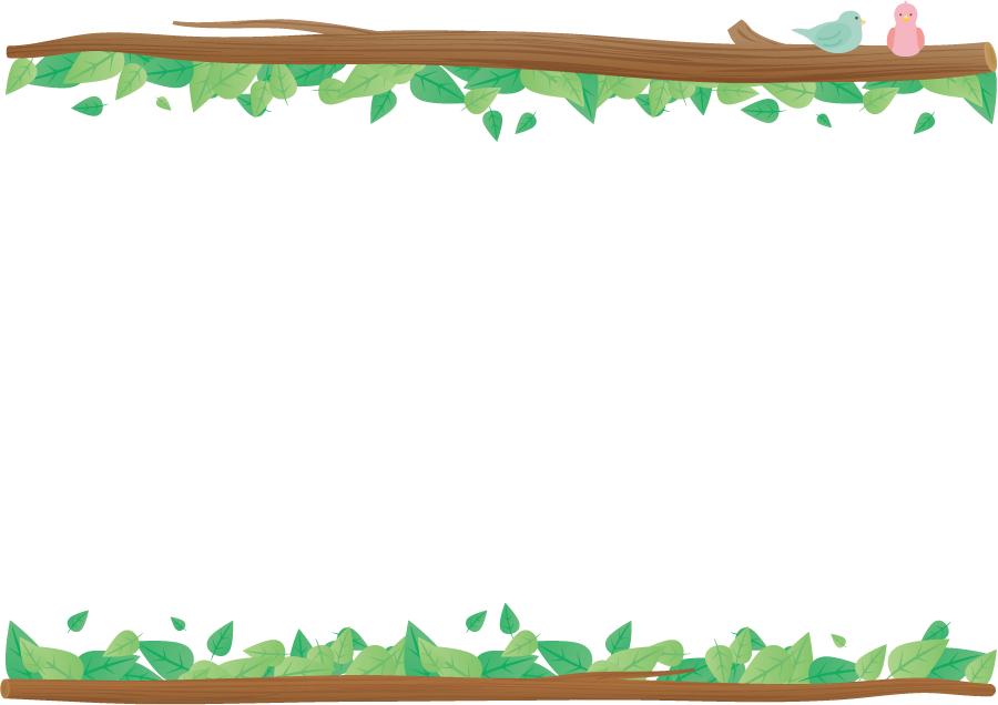 フリーイラスト 枝と葉っぱと鳥の飾り枠