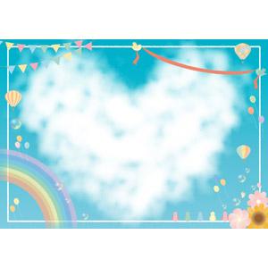 フリーイラスト, 背景, フレーム, 囲みフレーム, 雲, フラッグガーランド, 熱気球, 小鳥, 風船, しゃぼん玉(シャボン玉), 虹