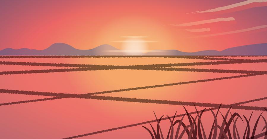 フリーイラスト 田んぼと日の入りの風景