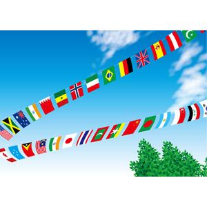 フリーイラスト, ベクター画像, AI, 青空, 旗(フラッグ), 万国旗, 年中行事, 運動会(体育祭), 10月, 国旗