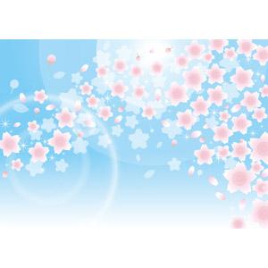 フリーイラスト, ベクター画像, EPS, 背景, 青空, 花, 桜(サクラ), 花びら, 桜吹雪, 春, ピンク色の花, 太陽光(日光), 蕾(つぼみ)