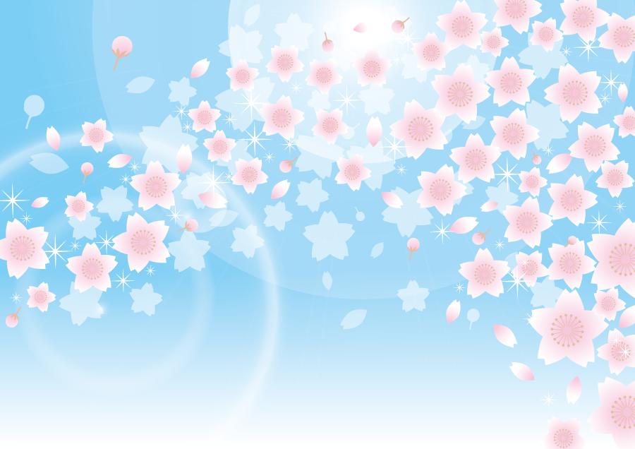 フリーイラスト 青空と桜吹雪