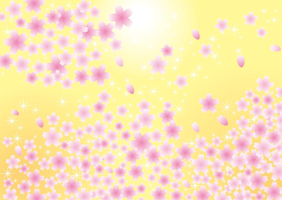 フリーイラスト 桜ふぶきと黄色の背景