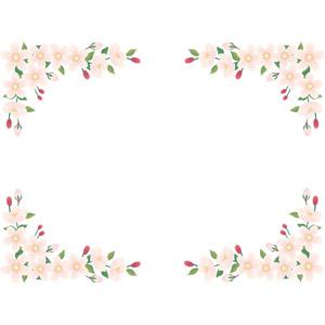 フリーイラスト, ベクター画像, EPS, 背景, フレーム, 対角フレーム, 植物, 花, 桜(サクラ), 蕾(つぼみ), 春, ピンク色の花