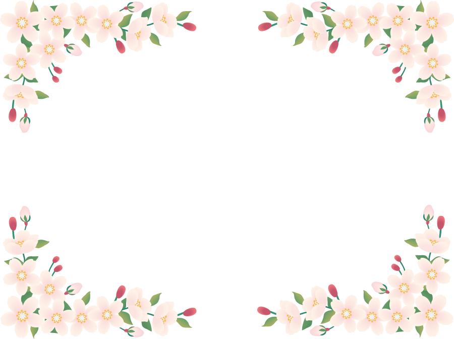 フリーイラスト 桜の花の飾り枠