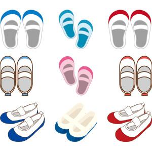 フリーイラスト, ベクター画像, AI, 学校, 小学校, 靴(シューズ), 上履き