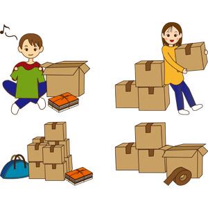 フリーイラスト, ベクター画像, AI, 人物, 男性, 女性, 引っ越し, 段ボール(ダンボール), 荷物, 荷造り, ガムテープ
