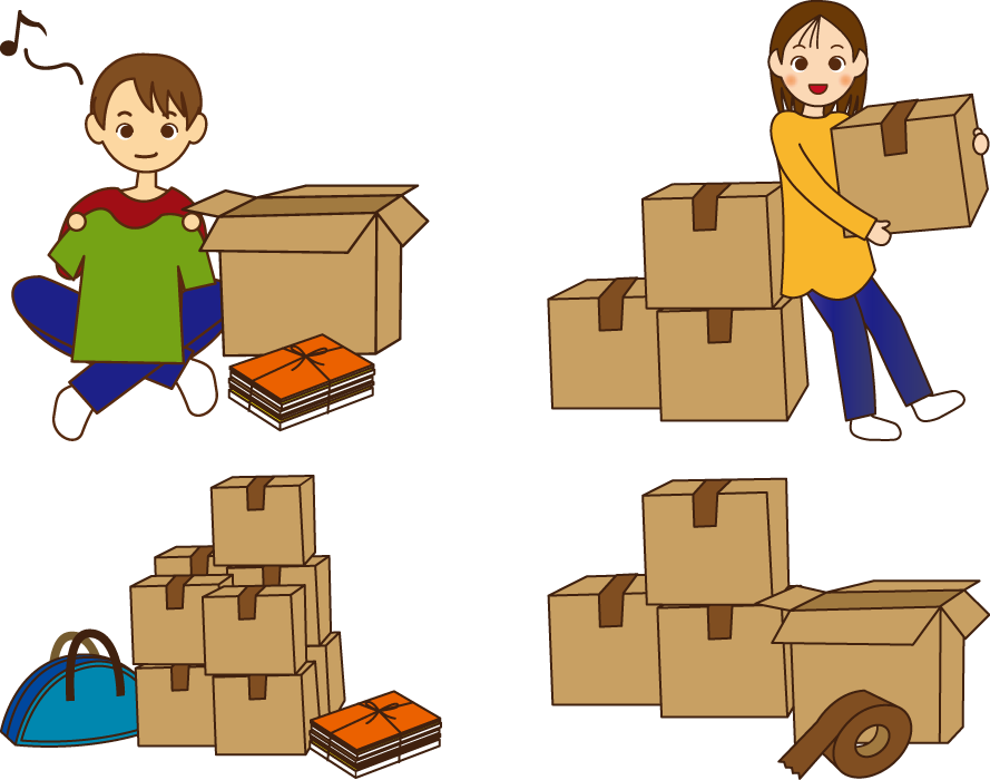 フリーイラスト 4種類の引越しの荷造のセット
